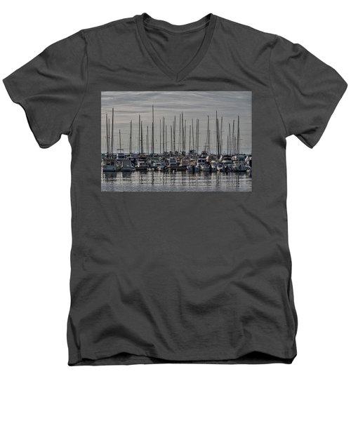 Men's V-Neck T-Shirt featuring the photograph Boats In The Izola Marina - Slovenia by Stuart Litoff