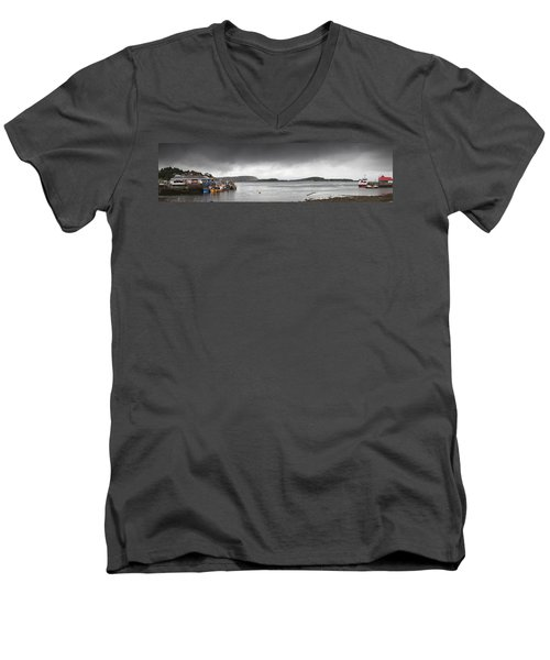 Men's V-Neck T-Shirt featuring the photograph Boats Moored In The Harbor Oban by John Short