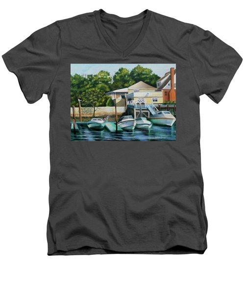 Boats On Crossbay Blvd. Men's V-Neck T-Shirt