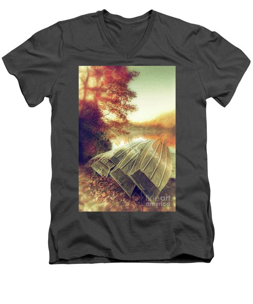 Men's V-Neck T-Shirt featuring the painting Boats On Price Lake During Autumn Sunrise Ap by Dan Carmichael