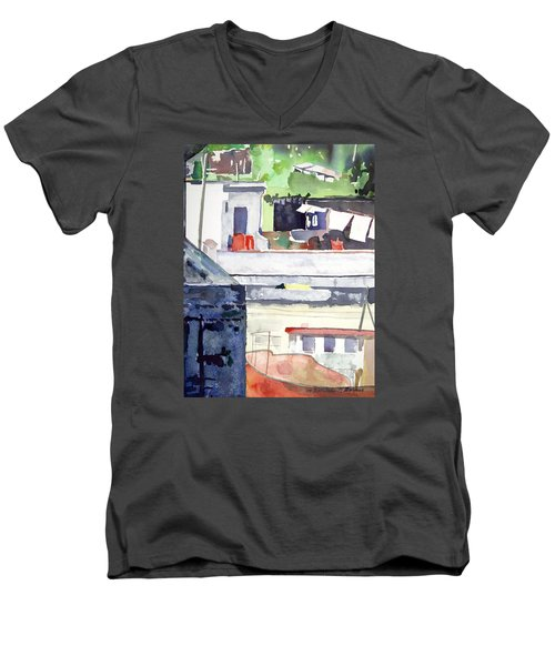 Boats On The Quay Men's V-Neck T-Shirt