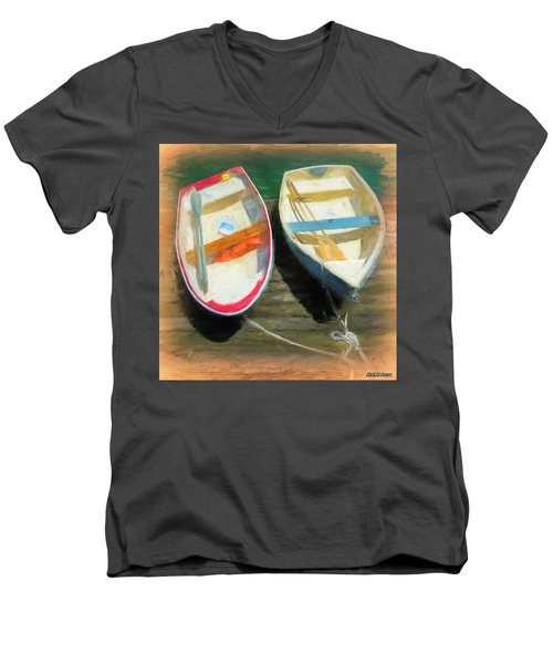Boats Tied On The Landing Men's V-Neck T-Shirt