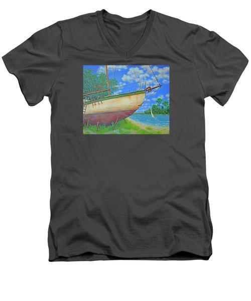 Boatyard On Shem Creek Men's V-Neck T-Shirt by Dwain Ray