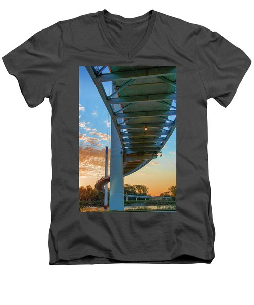 Men's V-Neck T-Shirt featuring the photograph Bob Kerry Bridge At Sunrise-2 by Tim Kathka