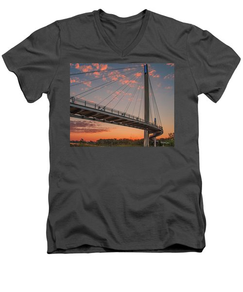 Men's V-Neck T-Shirt featuring the photograph Bob Kerry Bridge At Sunrise-4 by Tim Kathka