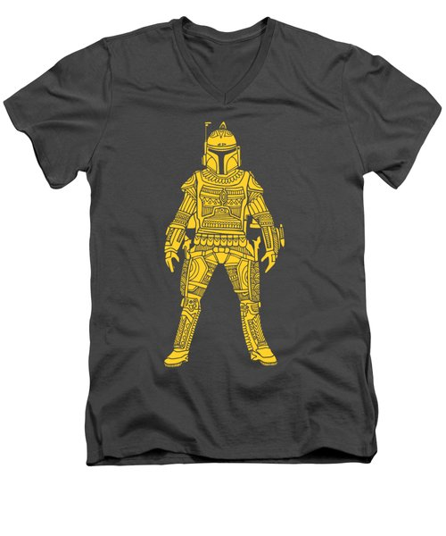 Boba Fett - Star Wars Art, Yellow Men's V-Neck T-Shirt