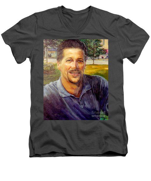 Men's V-Neck T-Shirt featuring the painting Bobby by Stan Esson