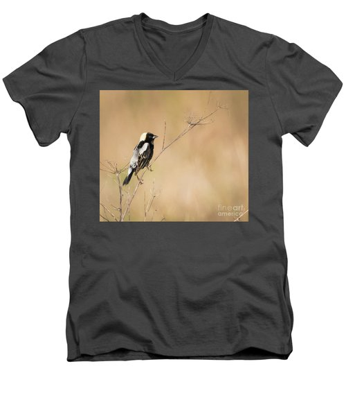 Men's V-Neck T-Shirt featuring the photograph Bobolink  by Ricky L Jones