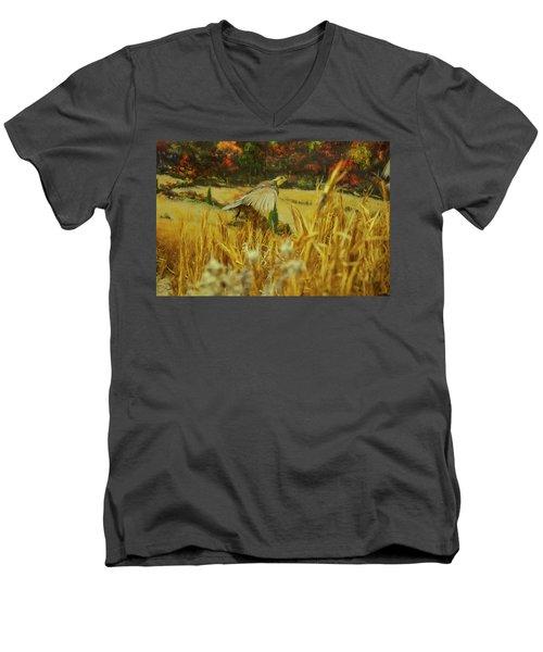 Men's V-Neck T-Shirt featuring the digital art Bobwhite In Flight by Chris Flees