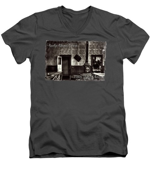 Bodie Hotel Dining Room With Pool Table Men's V-Neck T-Shirt