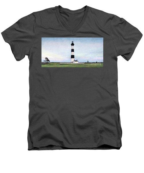 Bodie Island Lighthouse Mural Art Men's V-Neck T-Shirt by Marion Johnson