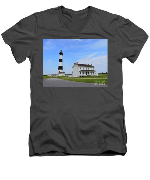 Bodie Island Lighthouse Men's V-Neck T-Shirt by Shelia Kempf