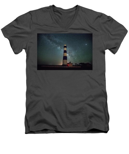 Bodie Lighthouse And Milky Way Men's V-Neck T-Shirt