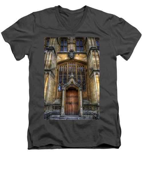 Bodleian Library Door - Oxford Men's V-Neck T-Shirt by Yhun Suarez