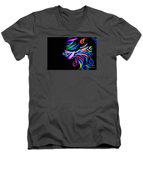 Men's V-Neck T-Shirt featuring the painting Body Art Breast by Tbone Oliver