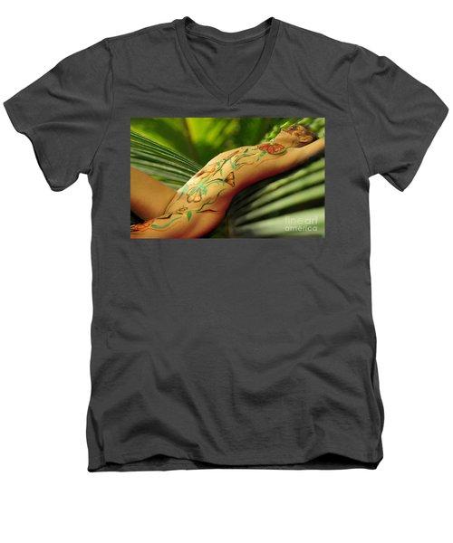 Bodyart 5 Men's V-Neck T-Shirt by Tbone Oliver
