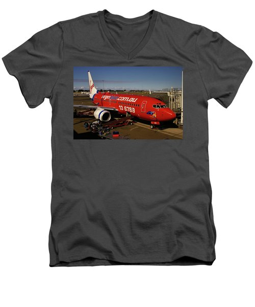 Boeing 737-7q8 Men's V-Neck T-Shirt by Tim Beach