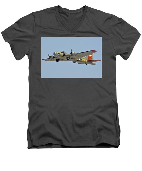 Men's V-Neck T-Shirt featuring the photograph Boeing B-17g Flying Fortress N93012 Nine-o-nine Phoenix-mesa Gateway Airport Arizona April 15, 2016 by Brian Lockett