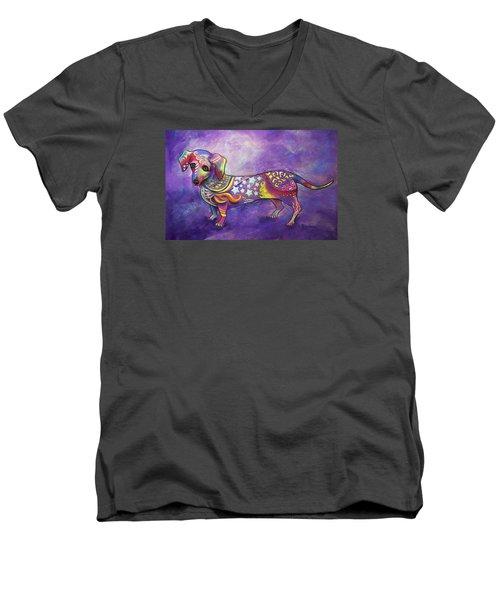 Dachshund Men's V-Neck T-Shirt by Patricia Lintner