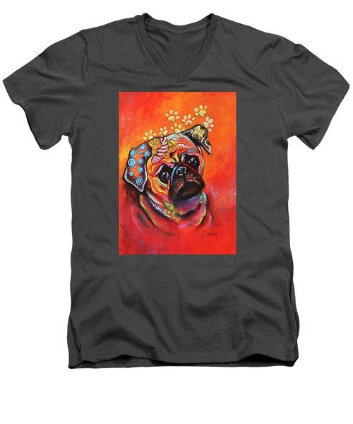 Pug Men's V-Neck T-Shirt by Patricia Lintner