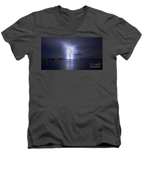 Bokeelia Nights Men's V-Neck T-Shirt by Quinn Sedam