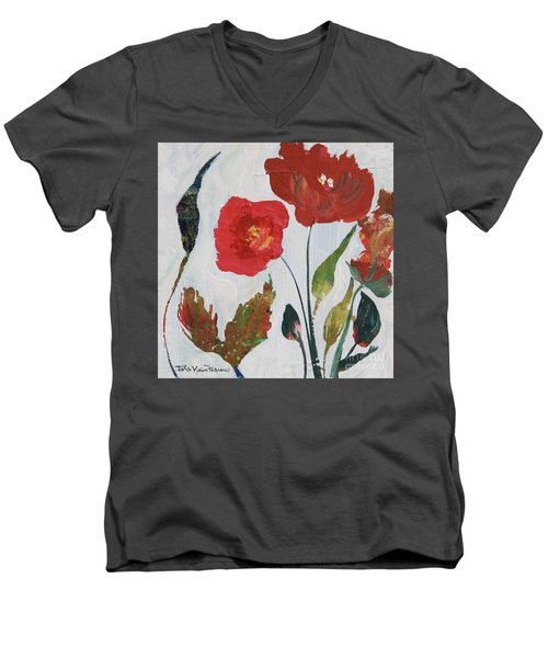 Men's V-Neck T-Shirt featuring the painting Bold Blooms by Robin Maria Pedrero