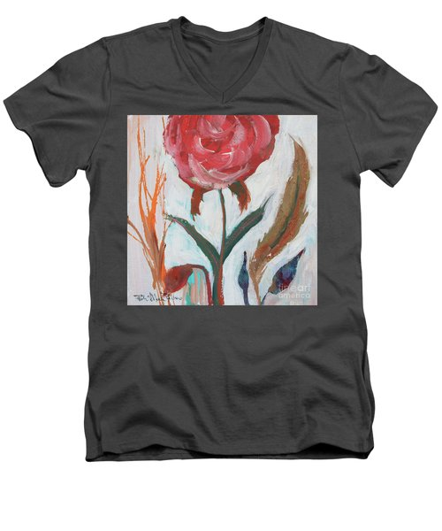 Men's V-Neck T-Shirt featuring the painting Bold Bright Beautiful Bloom by Robin Maria Pedrero
