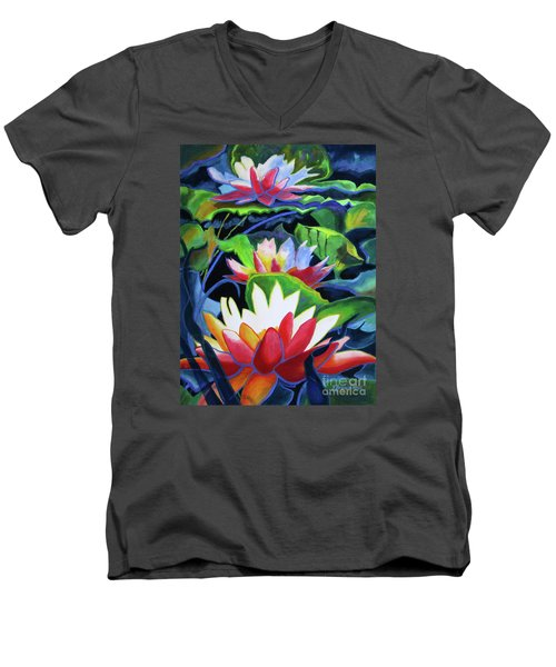 Men's V-Neck T-Shirt featuring the painting Bold Lilypads by Kathy Braud