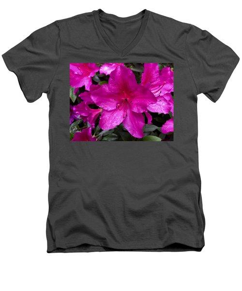 Bold Pink Flower Men's V-Neck T-Shirt