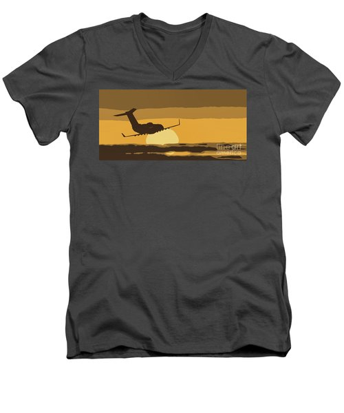 Bombardier Crj-200er Flying Sunset Men's V-Neck T-Shirt