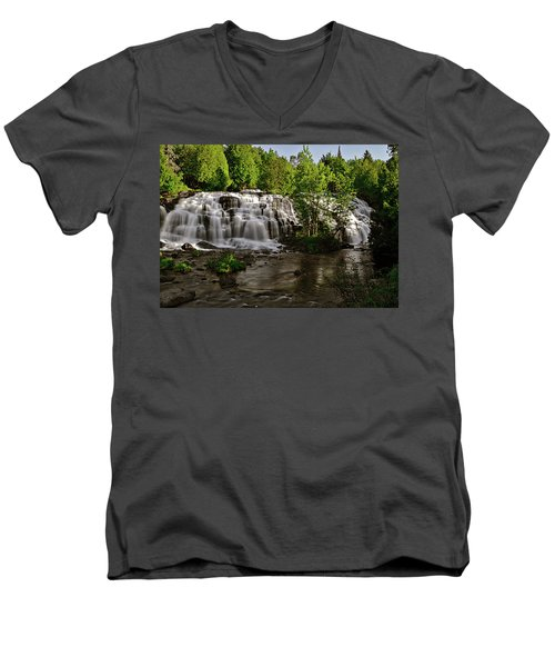 Men's V-Neck T-Shirt featuring the photograph Bond Falls - Haight - Michigan 003 by George Bostian