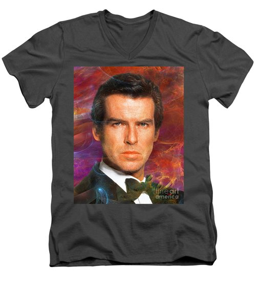 Bond - James Bond 5 Men's V-Neck T-Shirt by John Robert Beck