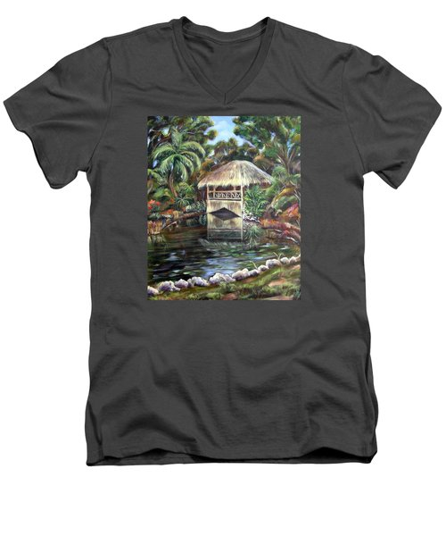 Bonnet House Chickee Men's V-Neck T-Shirt by Patricia Piffath