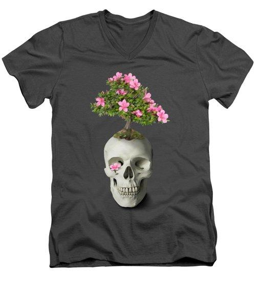 Men's V-Neck T-Shirt featuring the painting Bonsai Skull by Ivana Westin