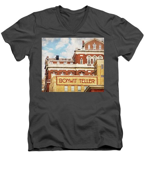 Men's V-Neck T-Shirt featuring the photograph Bonwit Teller by Alice Gipson