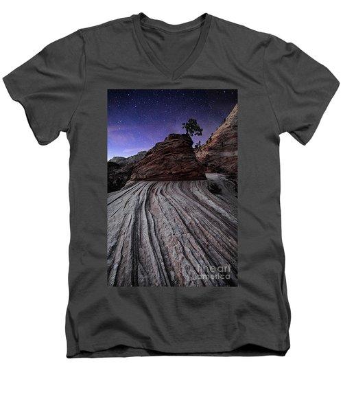 Bonzai In The Night Utah Adventure Landscape Photography By Kaylyn Franks Men's V-Neck T-Shirt