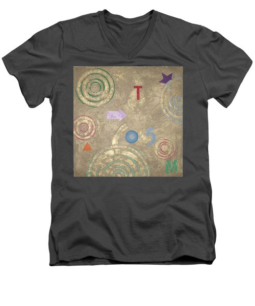Men's V-Neck T-Shirt featuring the painting Boogie 5 by Bernard Goodman