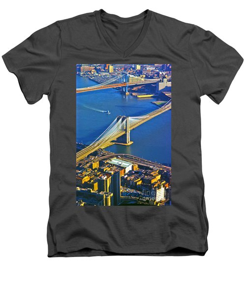 Booklyn And Manhattan Bridges Men's V-Neck T-Shirt
