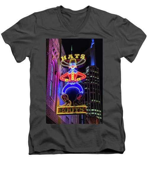 Boots And Hat Neon Sign Men's V-Neck T-Shirt