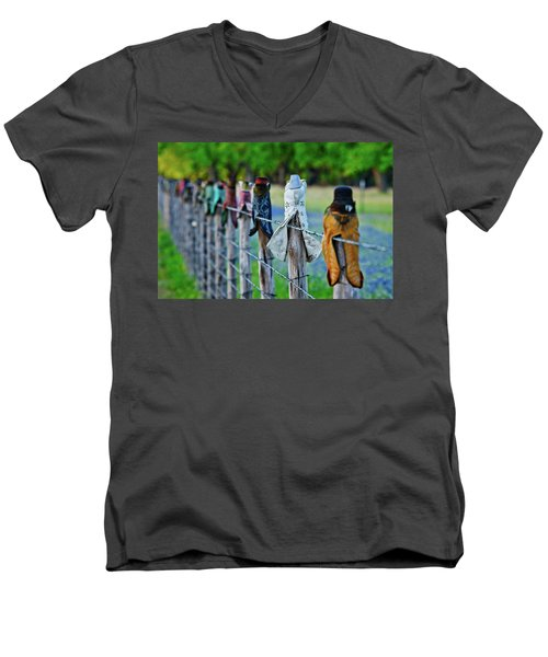 Men's V-Neck T-Shirt featuring the photograph Boots On The Fence by Linda Unger