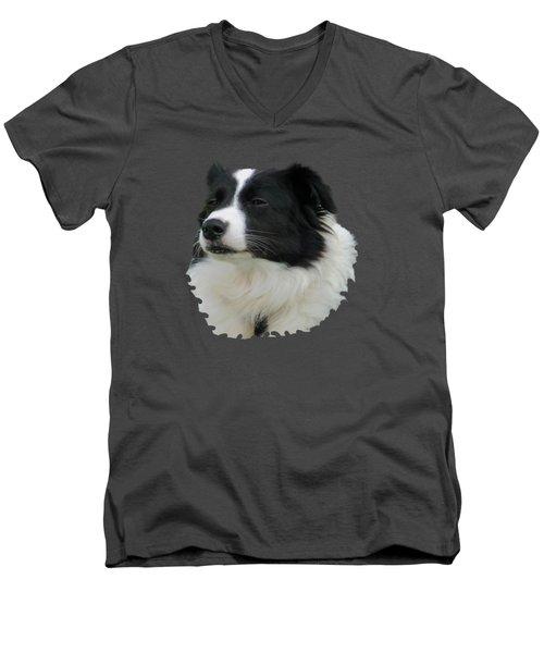 Border Collie Men's V-Neck T-Shirt by Pamela Walton