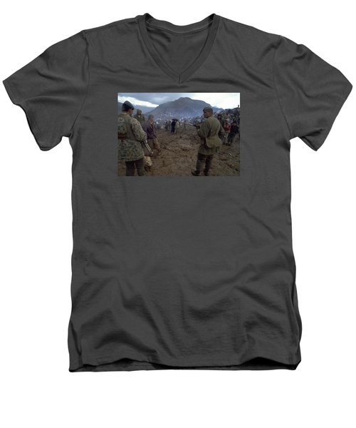 Men's V-Neck T-Shirt featuring the photograph Border Control by Travel Pics