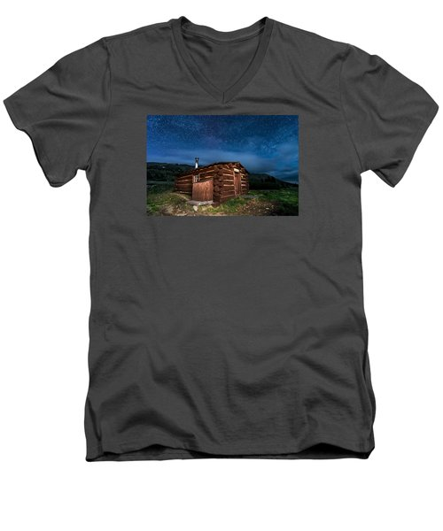 Boreas Pass Cabin Moonlit Night Men's V-Neck T-Shirt