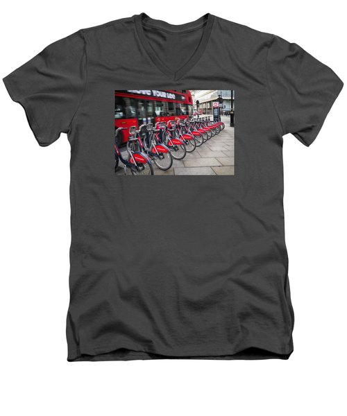 Men's V-Neck T-Shirt featuring the photograph Boris Bikes And Buses by Shirley Mitchell