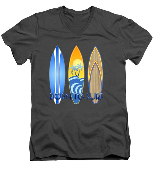 Born To Surf And Tiki Masks Men's V-Neck T-Shirt by Chris MacDonald