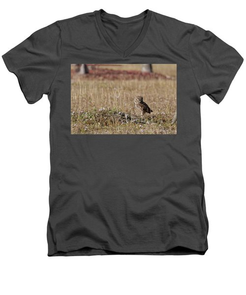 Borrowing Owl Outside His Home Frowning Men's V-Neck T-Shirt