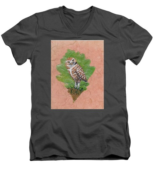 Borrowing Owl Men's V-Neck T-Shirt by Ralph Root
