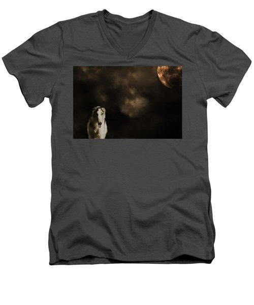 Borzoi Wolf Hound And Full Moon Men's V-Neck T-Shirt