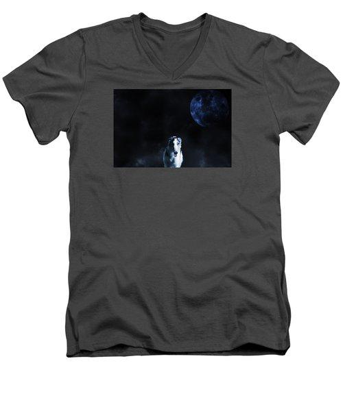 Borzoi Wolf-hound, Hunting Under A Full Moon Men's V-Neck T-Shirt