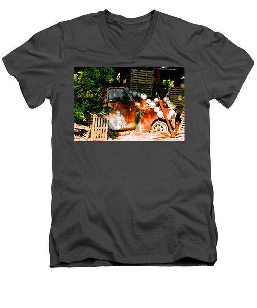 B.o.'s Fish Wagon In Key West Men's V-Neck T-Shirt